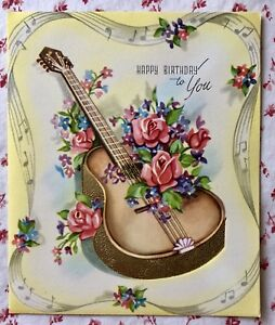 Details About Vintage 1940s UNUSED Birthday Greeting Card Guitar Musical Notes Roses