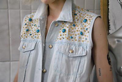 Modesto Jeans Da Donna Gilet Gilet 40 Denim Blu 90er True Vintage Women Vest 90s Blue Jeans-mostra Il Titolo Originale