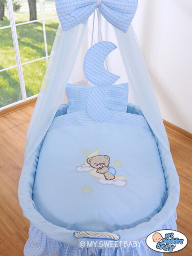 BLUE WHITE Replacement Bedding With Canopy Net Covers For Wicker Crib PINK