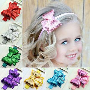 Baby-Girls-Kid-Sequin-Bowknot-for-Headband-Hair-Band-Bow-Accessory-Headwear-SEA