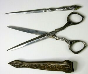 Antique-German-D-Peres-Solingen-Scissors-Letter-Opener-Case-Holder