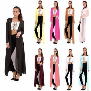 um 50 Prozent reduziert im Angebot große Auswahl an Farben Details zu NEW LADIES OPEN FRONT MAXI CARDIGAN LONG SLEEVE FLOATY CHIFFON  JACKET BLACK,