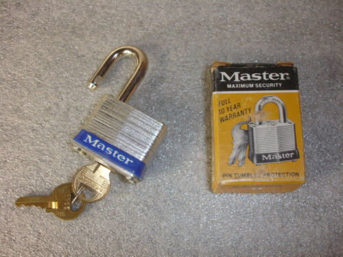 Old Vtg Collectible Master Maximum Security #3 Padlock Lock with 2 Keys In Box