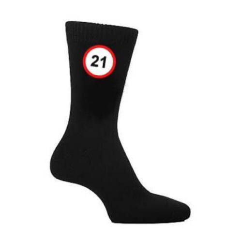 21 mph signe de route Homme Noir Chaussettes Âge 21 Twenty Premier Anniversaire Cadeau