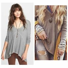 NWT Free People Sunset Park Drippy THERMAL Top TUNIC Shirt L Htr Oatmeal