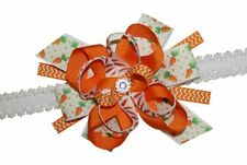 WD2U Baby Girls Infant Polka Dotted Carrot Easter Hair Bow Stretch Headband
