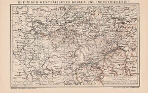 Karte Ruhrgebiet.Details Zu Ruhrgebiet Industrie Bergwerke Gruben Karte Um 1899 Eisenbahnstrecken Westfalen