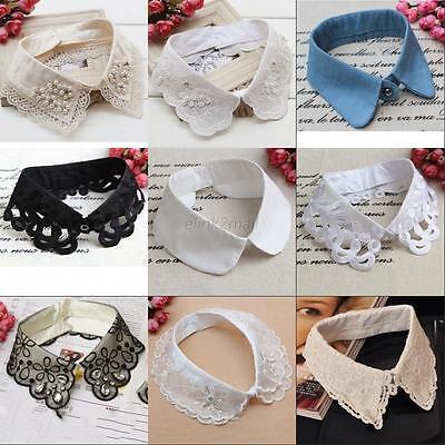 Womens Ladies Fake False Collar Detachable Lapel Shirt Peter Pan Choker Necklace