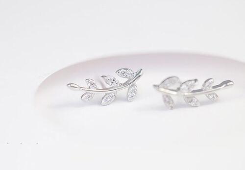 Diamond feuilles S925 Argent Sterling Boucle d/'oreille Coeur Amour Cadeau Maman Mariage-ER90