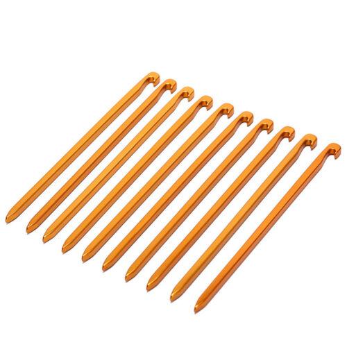 10pcs aluminum alloy tent pegs square nail stakes hook pin nails camping 16cm FY