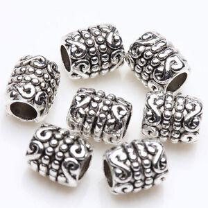 50x-Tibetan-Silver-Round-Tube-Charm-Spacer-Bead-Bracelet-Jewelry-Finding-6x5mm