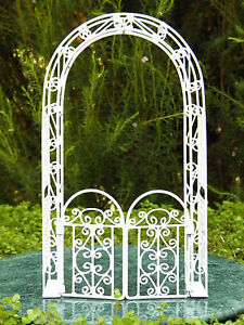 Image Is Loading Miniature Dollhouse FAIRY GARDEN Furniture White Wire Arbor