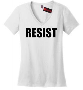 Resist-Ladies-V-Neck-T-Shirt-Anti-Donald-Trump-Protest-Tee-Rally-Resist-Trump-Z5