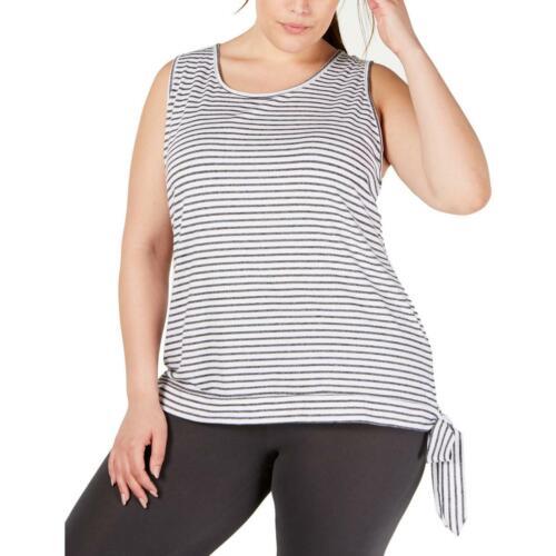 Ideology Womens B//W Striped Side Tie Tank Top Athletic Plus 1X BHFO 0172