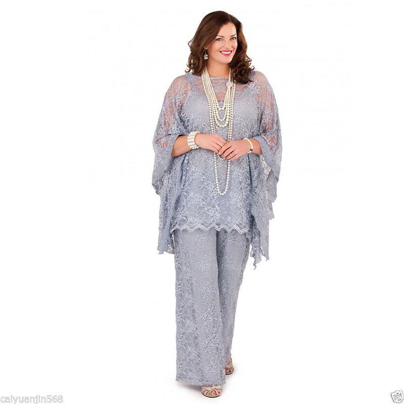 Magnifique dentelle mère de la mariée Pantalon suits for Formal Robe de Soirée Plus Größe