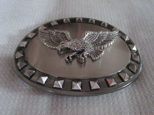 """4/"""" Mexican Metal Motorcycle Biker Belt Buckle Studded Eagle Stainless look"""