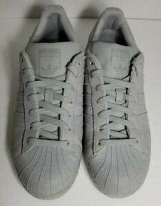 quiet fossil Erasure  Adidas SUPERSTAR Grey Leather Lace Up Shell Toe Low Top Shoes Men's Size  7.5 | eBay