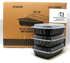 Details About 150 Black Meal Prep Microwavable Rectangular Food Lunch Container Lid 38 Oz 8x6