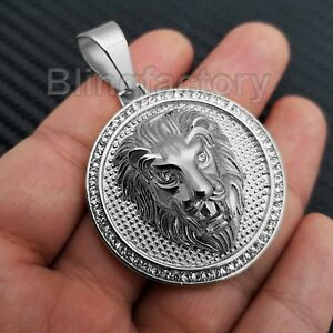 Charmant Hip Hop Iced Out Stainless Steel Lab Diamond Lion Head Medallion Pendant Des Friandises AiméEs De Tous