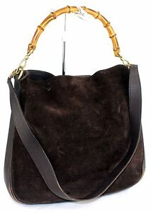 100-Auth-GUCCI-chocolate-Suede-Leather-bamboo-handle-2way-Shoulder-Bag-Italy