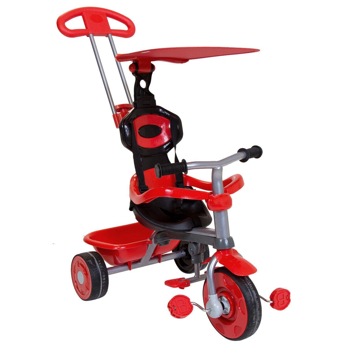 Kinder Dreirad 3 in 1 - mit Sonnendach & Schubstange - Rot