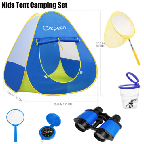 Clispeed Kids Camping Play Tent Foldable Home Playhouse Boys Girls Birthday Gift