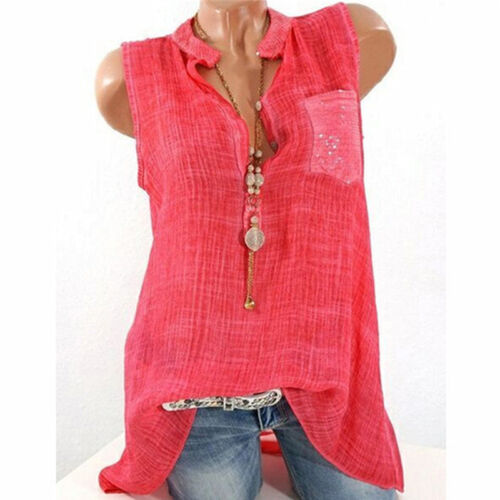 Womens Summer Sleeveless V Neck T Shirt Vest Tops Baggy Blouse Tank Plus Size