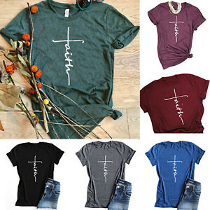 Jesus-Cross-Women-039-s-T-Shirt-Christian-Religious-Faith-Disciple-Church-Shirts-Tee