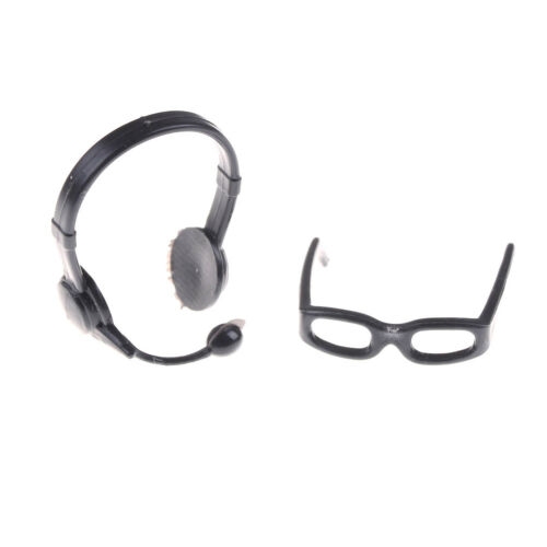 1:12 Black Simulation Glasses Earphone Toys for Children Doll Accessories P0CA