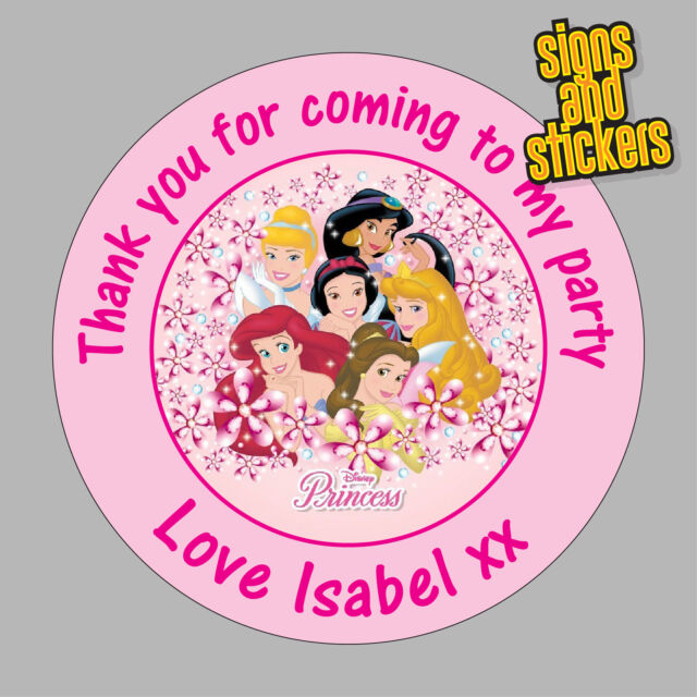 40 personalised princess stickers 40mm birthday party thank you 40x bags