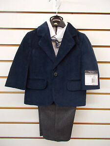 3811e76d8a8b Infant Toddler Boys Nautica  84- 86 Navy   Gray Velour Suits Size ...