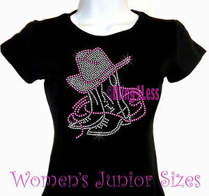d8d57557 Details about PINK - Boot & Hat - Cowgirl - Rhinestone Iron on T-Shirt -  Bling Western Top