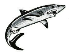 """Shark - Fishing - Right - Fully Embroidered Iron On Patch - 3 3/4""""W (9.5cm)"""