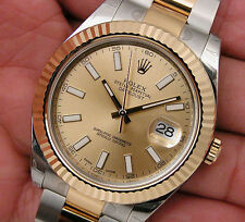 Rolex DATEJUST II 116333 Mens Steel & Yellow Gold Champagne Stick Dial 41MM