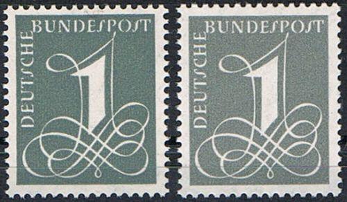 226 x+y **  BRD 1955, Freimarke Ziffernzeichnung