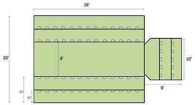 Flap 6' Drop Cordura® Lumber Tarp Lightweight Flight Tracker 20 X 26 2 Rows D-rings
