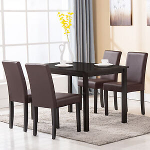 piece wood dining table set 4 chairs dinette room kitchen breakfast