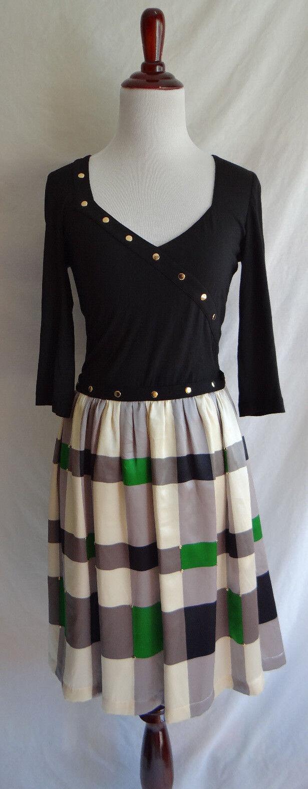 Anthropologie Lauren Moffatt 4 Preppy Boho Dress gold Stud Accent Plaid Skirt