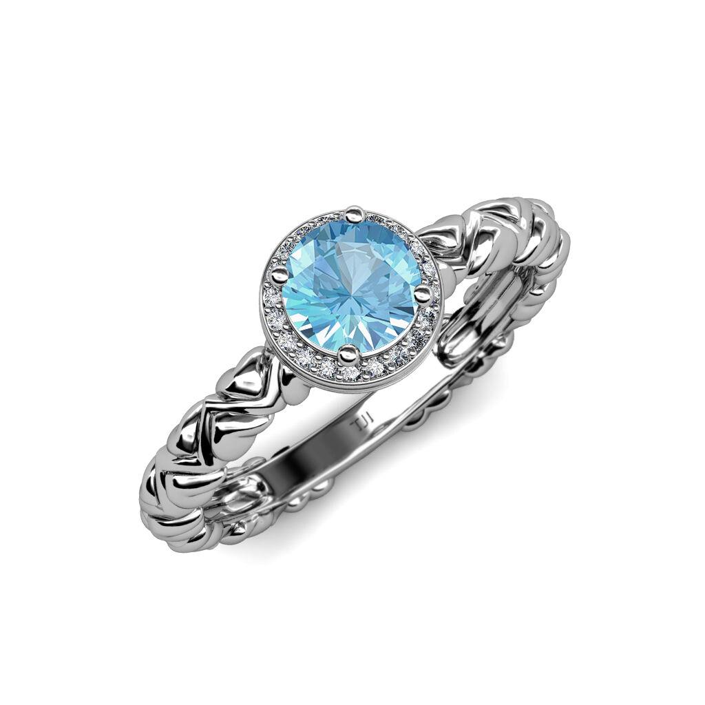 bluee Topaz & Diamond Heart Shank Halo Engagement Ring in 14K gold JP 84324