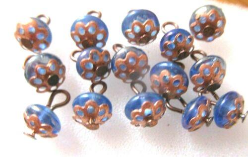 """Petits boutons /""""pour vêtements poupées anciennes// verre bleu montage cuivre"""
