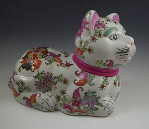 VINTAGE-KUTANI-STYLE-HONG-KONG-LARGE-SITTING-CAT-SCULPTURE-FIGURINE