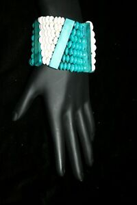 Details about Bohemian hand-made stretch torquoise / beige bracelet   app   4 inches wide