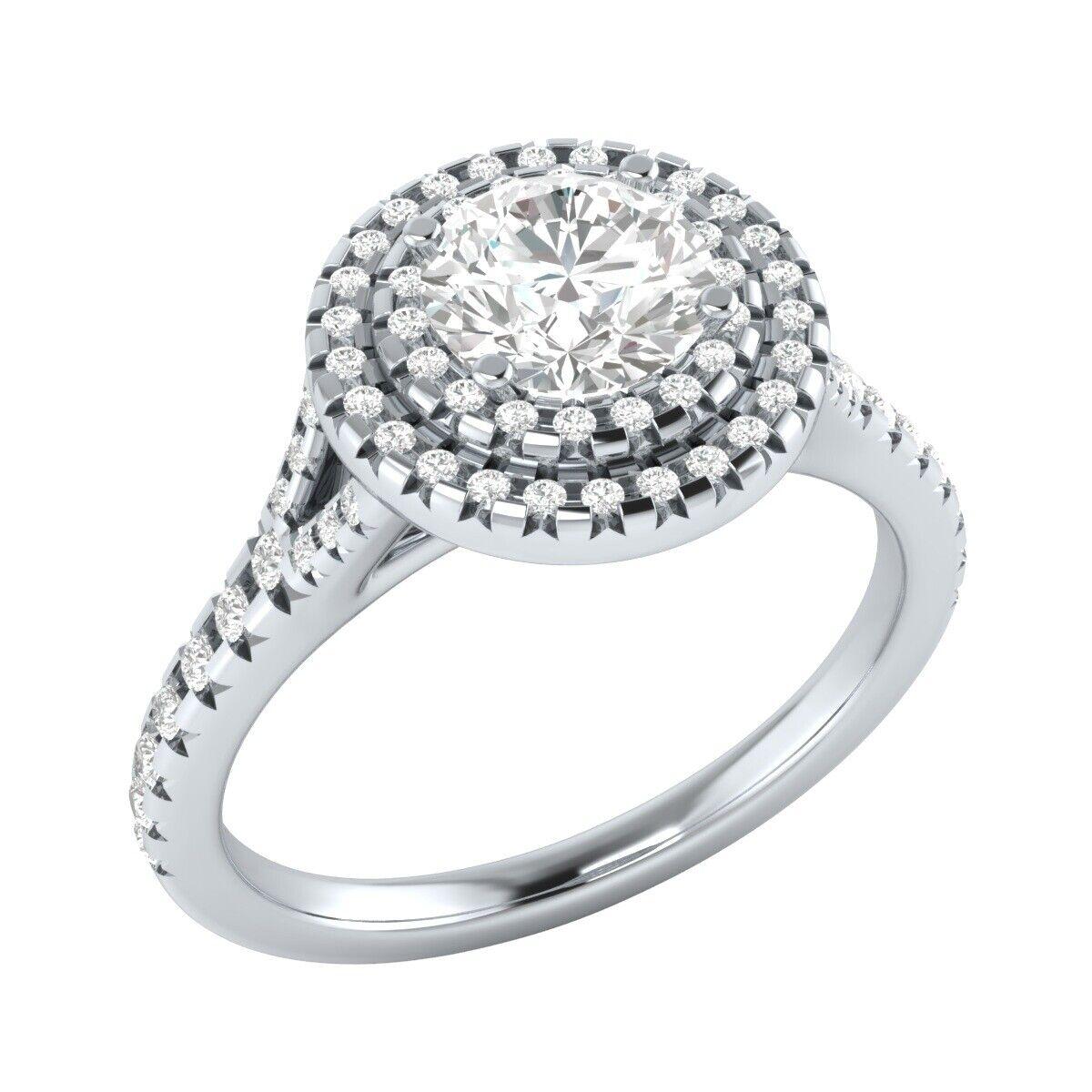 0.95 Ct Double Halo Round Diamond Engagement Wedding Ring 14k White gold Over