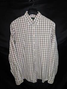 Eddie-Bauer-Tall-L-TL-Olive-Green-Orange-Blue-Plaid-Shirt-Button-Down-Cotton