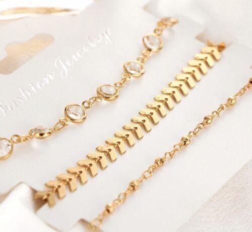 Gold Crystal Set Of 3 Bling Anklet Ankle Bracelet Luxury Boho Boutique New Uk