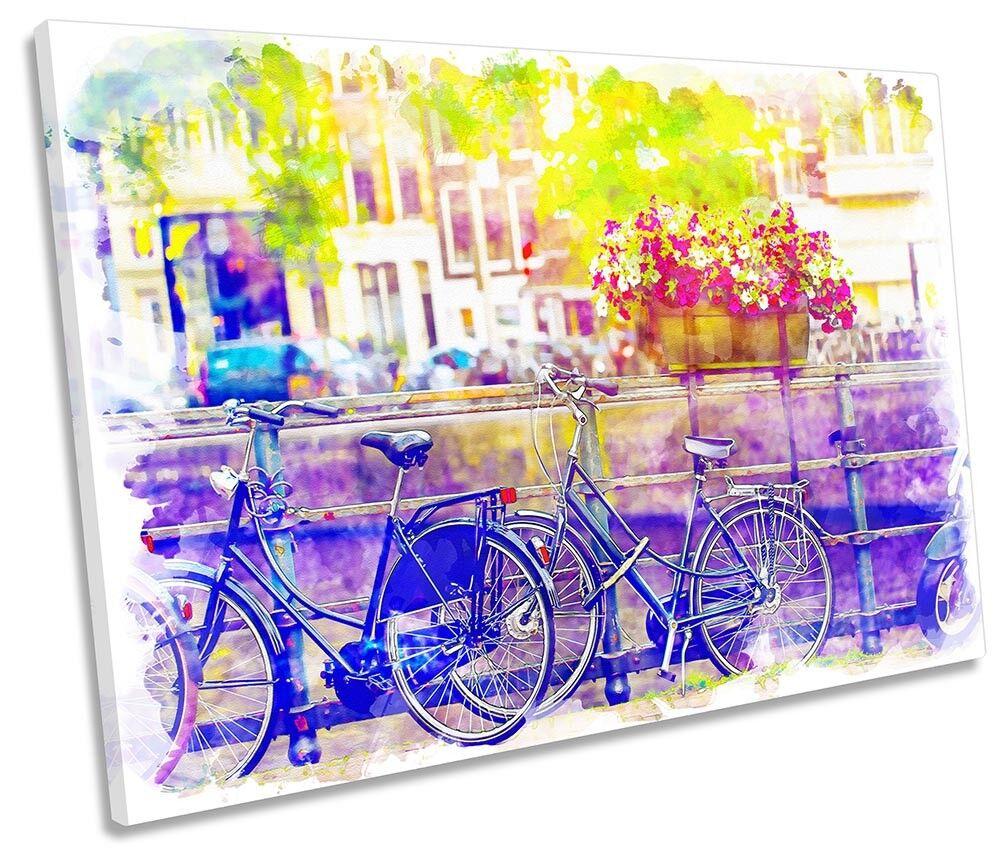 Amsterdam Bike City Watercolour Framed SINGLE CANVAS PRINT Wall Art