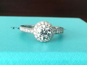 62182b33c13ec Details about TIFFANY & Co PLATINUM DIAMOND ROUND ENGAGEMENT RING .74 CT E  VS1 3EX $9k NEW