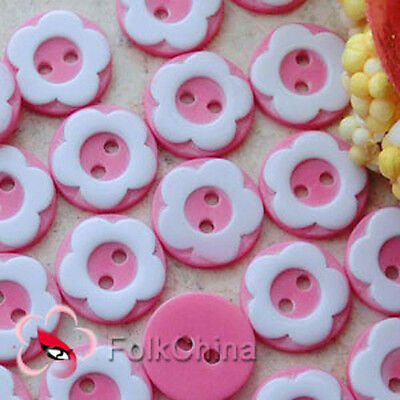 Hot Pink 2 Holes 12mm Flower Plastic Buttons Sewing Craft Scrapbooking PCB-A01