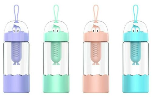 Details about  /Cute Kids Water Bottle with Fruit Infuser12 Oz Leak-proof Bottle Glass