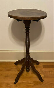 Antique-Vintage-Round-Pedestal-Tea-Occasional-Side-Table-Plant-Stand-30-034
